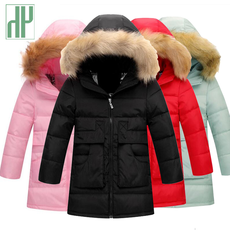 Winter Jacket for girls coat large fur hooded collar long children outerwear parka Toddler Teenage Boys Jackets Age 4 5 6 8 13Y