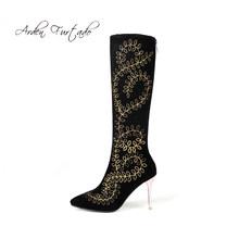 384a8d3c5af Arden Furtado Fashion women's shoes winter 2019 pointed toe stilettos heels  9cm knee high boots embroidery black suede size 45
