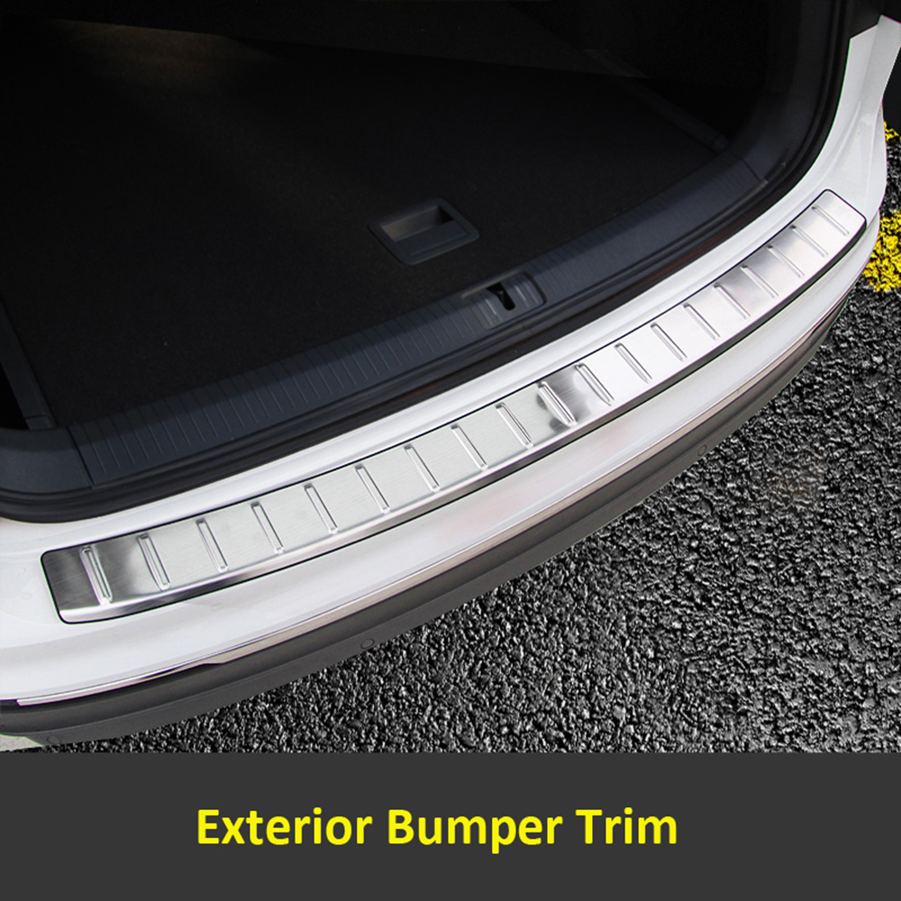 Rear Trunk Exterior Bumper Sill Plate Cover Trim Stainless Steel 1pcs For Volkswagen VW Tiguan 2017 stainless steel rear bumper protector plate sill trunk guard cover trim 2pcs accessories for volkswagen vw tiguan l 2017