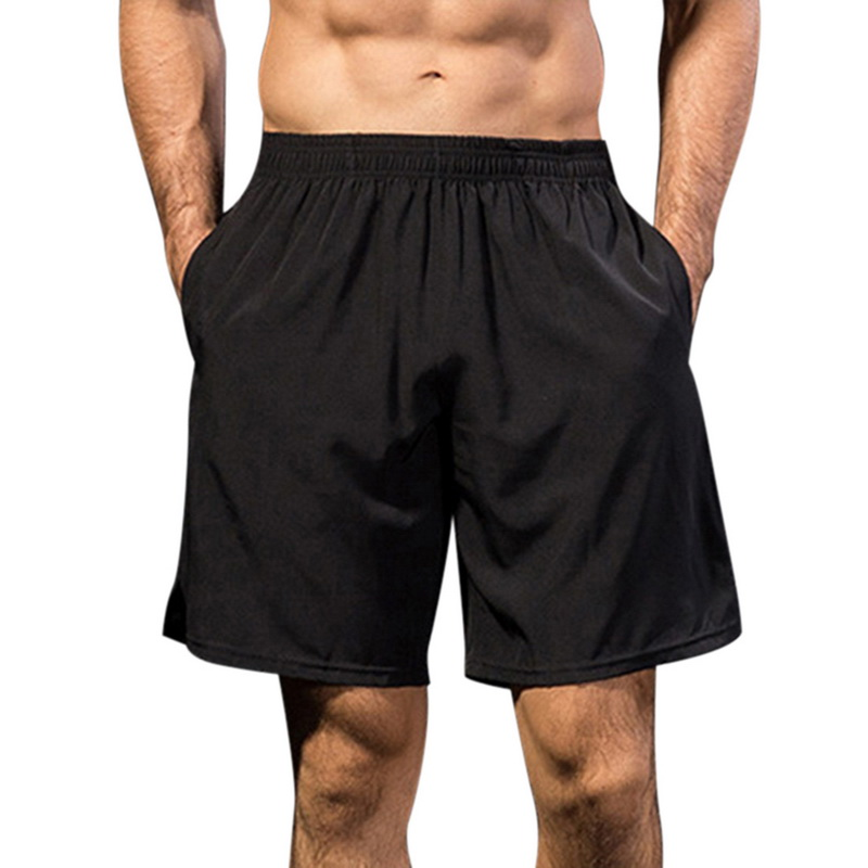 Shorts Men Clothing Elastic-Waist Fitness Knee-Length Male Quick-Dry Fashion Summer Solid