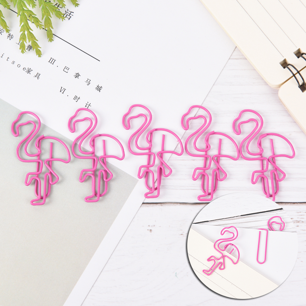 5pcs/lot Funny  Flamingos Pineapple Shape Paper Clips Kawaii Bookmark Office School Stationery Marking Clips