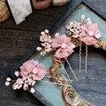 Romántico nupcial rosado de encaje de flores pernos de pelo hechos a mano celada de boda cristalinos accesorios para el cabello