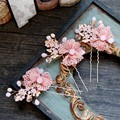 Romantic Pink Bridal Lace Flower Hair Pins Handmade Wedding Headpiece Crystal Hair Accessories