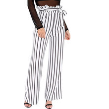 Mujeres rayas imprimir Pantalón ancho pantalones 2018 verano estilo OL  suelta Stretch alta cintura pantalones de la playa pantal. cefaf194d04f