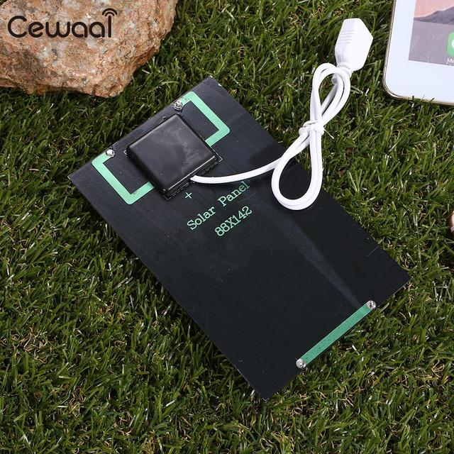 Cewaal USB Solar Panel 5W 5V Polysilicon USB Port Fast Charger Mobile Phone Portable Solar Generator 5