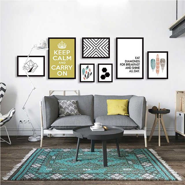 7pcs set new creative geometry home decor office room paintings artwork posters and prints picture