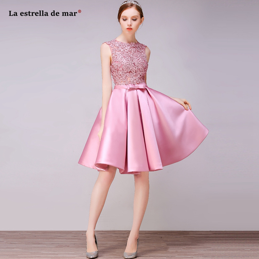 Robe demoiselle d'honneur2018 new lace and satin a Line pink red silver   bridesmaid     dress   short cheap vestido madrinha