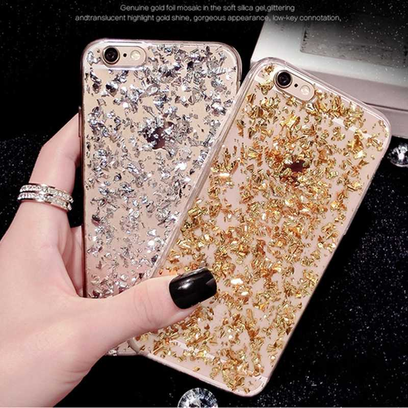 ShockProof Cover Case for iphone XS MAX 10 X XR XS 7 8 6 6S Plus SE 5S 5 Gold Foil Sequin Sexy Girl Clear Soft TPU Silicone Capa