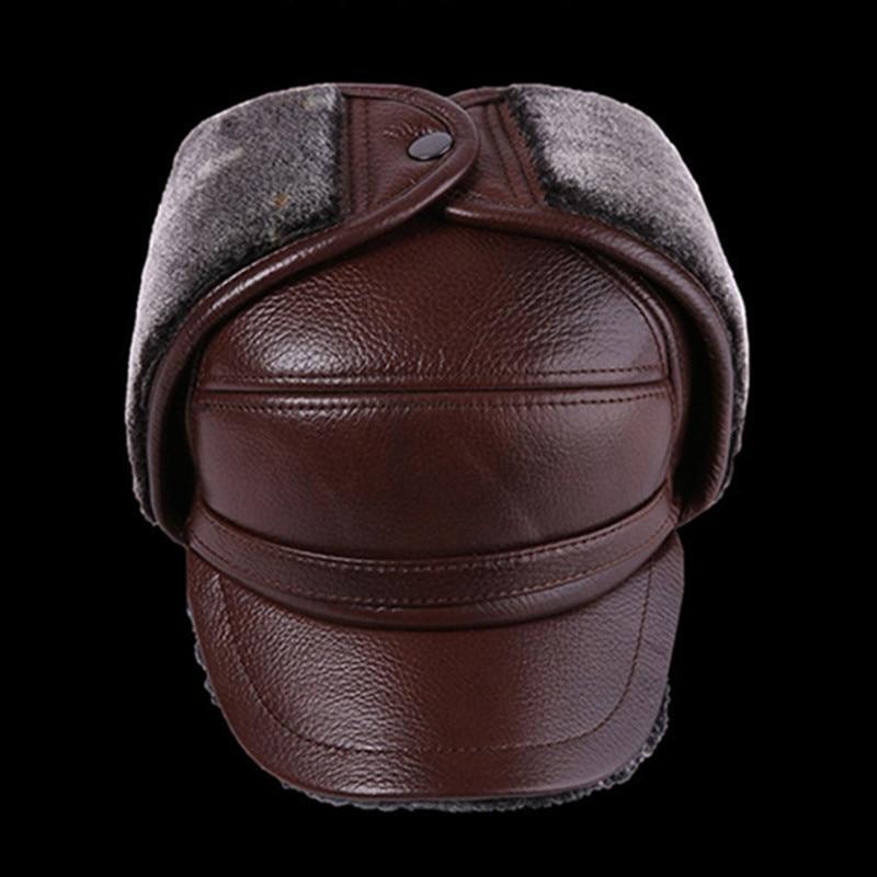 Winter Men's Leather Hat Thicken Leather Cowhide Baseball Caps With Ears Warm Snapback Dad's Hats Sombrero De Cuero Del Hombre