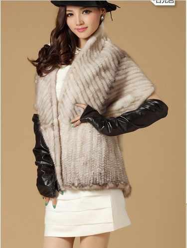 Роскошный 2015 зимний женский натуральный вязаный шаль из меха норки женские меховые палантины из пашмины Свадебная накидка VF0502