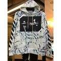 Осень зима бренд мужской одежды Беловатого Беловатого 13 Вергилий Abloh Джастин Бибер волнистой диагональные полосы печатных sweatershirt