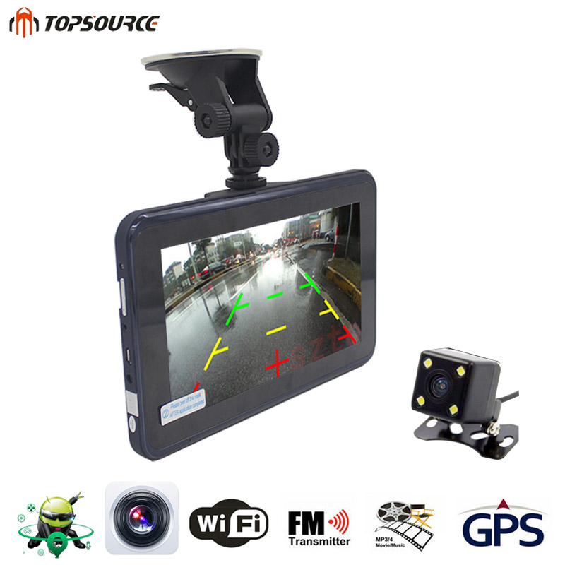 TOPSOURCE 7 Inch Car GPS DVR Navigation 16G AVIN Android Radar Detector Rearview Camera Automobile Navigator Navitel Map Sat nav topsource 7 inch car gps navigation android 8gb avin automobile navigator europe usa russia spain navitel map truck gps sat nav