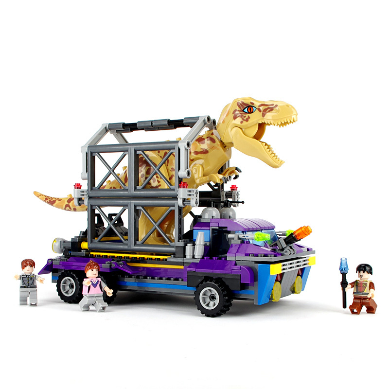 400pcs Jurassic Base Catch Dinosaur Toy Truck Blocks Children Figures Bricks Enlighten Building Blocks Toys for Boys K0371-8001 380pcs fire branch city enlighten bricks toy for children ladder truck building blocks fire fighter figures boys gift k0411 910