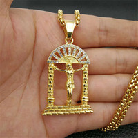 Hip Hop Iced Out Bling Crucifix Pendant Necklace For Men Stainless Steel Gold Color Jesus Piece Necklaces Male Catholic Jewelry