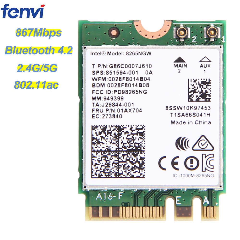 Wireless Dual Band 867Mbps For Intel AC 8265 NGFF Wifi Network Card 8265NGW 2.4G/5Ghz 802.11ac Bluetooth 4.2 8265AC For Laptop