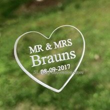 Sale 50/100pcs 3cm x 3cm Personalized Engraved MR & MRS Clear Acrylic Love Heart Wedding Favors Table Decorations  4.5mm thicker
