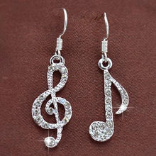 Hot Personality Geometric Music Dream Symbol Asymmetric Earrings Music Notes Ear Hook Crystal Silver Color Earrings for Women(China)