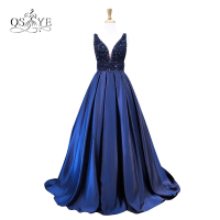 Royal Blue Long Prom Dresses 2017 Robe De Soiree Sexy V Neck Beaded Top Sweep Train
