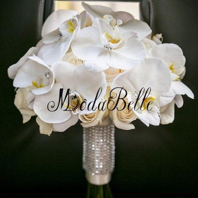 2017 Modabelle Индивидуальные Кристалл Свадебный Букет Де Mariage Искусственного Шелка Роза Орхидея Букет Свадебные Цветы Для Невесты