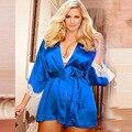 Envío Libre de Europa de La Manera Mujeres de Gran Tamaño Sexy ropa de Dormir Loungewear Bata De Seda con la Correa de Satén de Encaje de la Reina Glamour XL-5XL