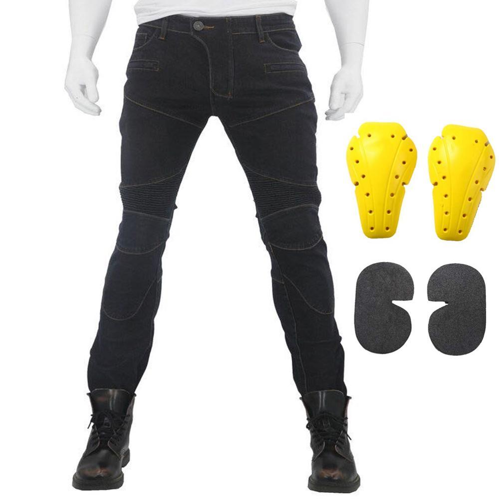 Moto équitation Pantalon Pantalon Moto Jeans pour hommes femmes Motocross course Pantalon avec 4 genouillères hanche protections 5
