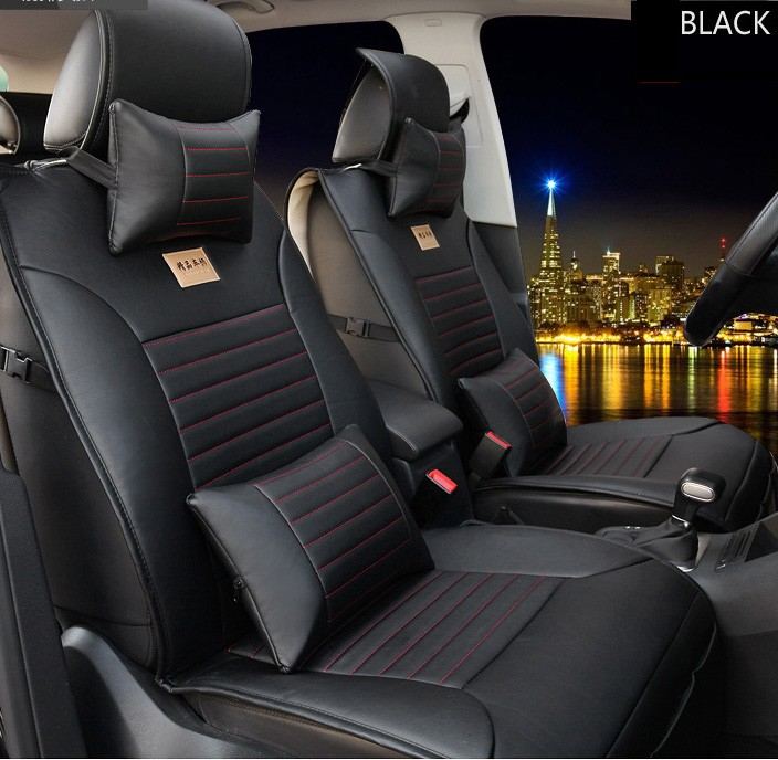 for VW Volkswagen Polo Golf  Passat Tiguan Jetta cushion cover brand leather black/brown Car Seat Cover Front&Rear complete seat silk breathable embroidery logo customize car seat cover for vw volkswagen polo golf fox beetle sagitar lavida tiguan jetta cc
