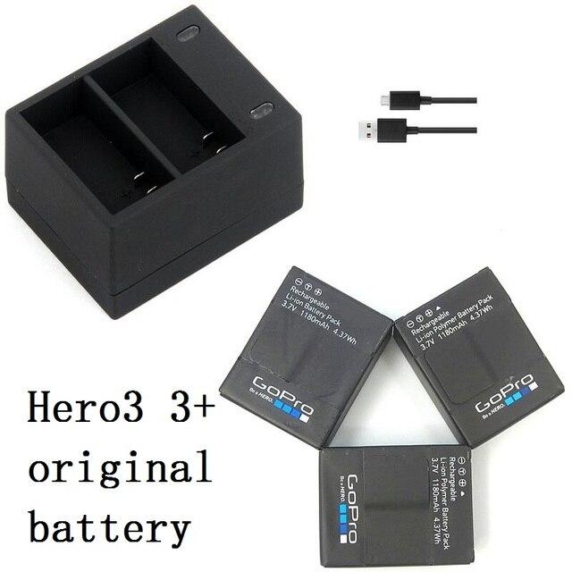 新しい100%オリジナルバッテリーカクレクマノミusbデュアルポート充電器移動プロヒーロー3 3 + ahdbt 301 302バッテリー充電器アクションアクセサリー