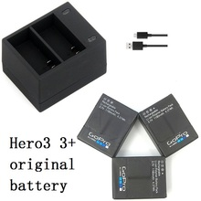 מטען USB כפול נמל דגי ליצן 100% סוללה מקורית חדש עבור Gopro hero 3 + 3 AHDBT 301 302 סוללה מטען פעולה אביזרי