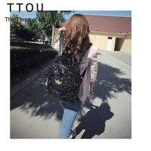 Ttou женские красочные Корона холст Рюкзаки леди школьные Дорожные сумки Mochila Escolar женщины сумку блестка Bling мешок