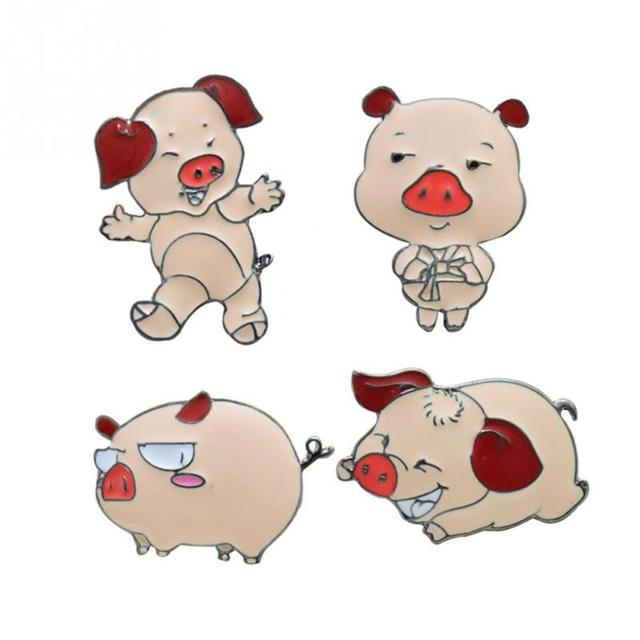 Eco Liga Projeto da Forma de Porco de Gravity Falls porco Cor de Rosa Bonito Esmalte pinos broche Crachá Broche Para O Decote No Peito Bolso Broche