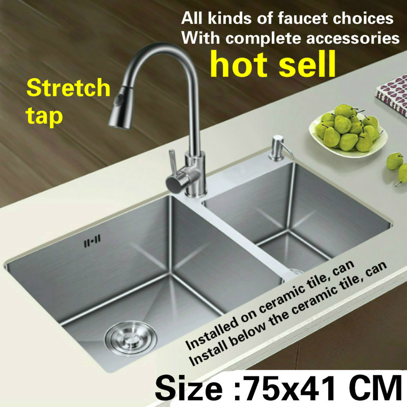 Free Shipping Hand Made Of 304 Stainless Steel Kitchen Sink Stretch Tap Thickening Double Groove  Hot Sell 750x410 MM