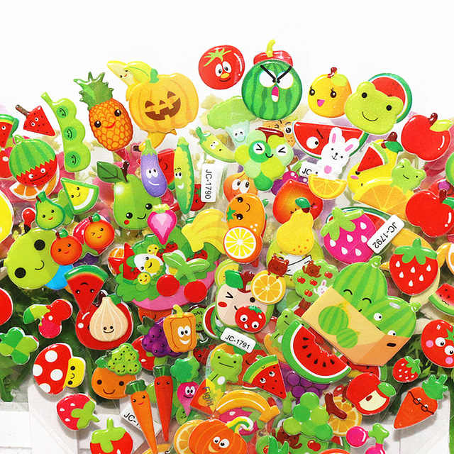 1Pcs Sell Full of Fruit Sheets Sticker Cute DIY Stickers Cartoon Children Stickers Toys Emoji PVC Scrapbook Gifts For Kids