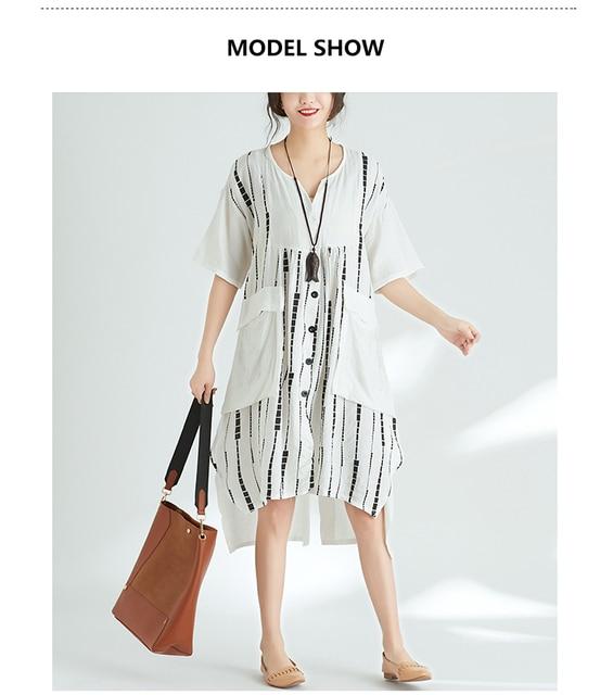 Quirky Lagenlook Asymmetrical hem Big Pockets Casual Flax A-Line Dress 2018 Plus Size Cotton&Linen Tunic Dress Summer Vestidos 2