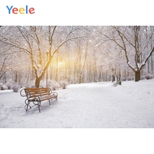 Yeele Winter Landscape Park Bench Decor Paintings Photography Backdrops Personalized Photographic Backgrounds For Photo Studio