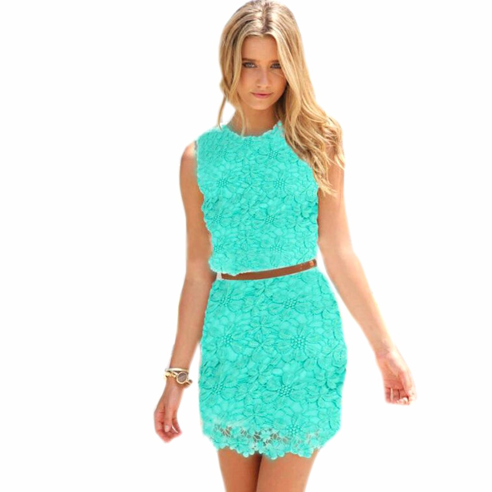 Red White Green Sleeveless Mini Lace Dress Women 2017 Spring Floral ...