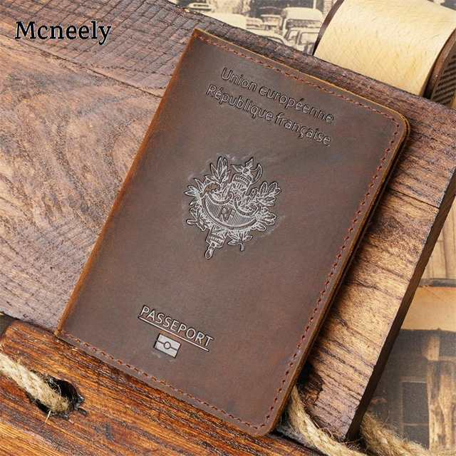 1c32370736f3 US $8.96 20% OFF Genuine Leather French Passport Cover Crazy Horse Solid  Passport Holder Business Unisex Durable Travel Wallet Case for France-in  Card ...