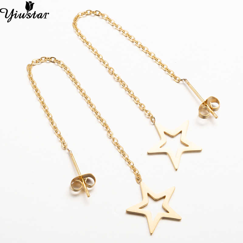 Yiustar Hollow Tassel Star Drop Earrings Women Jewelry Stainless Steel Hanging Earring Statement Earings pendientes brincos Gift