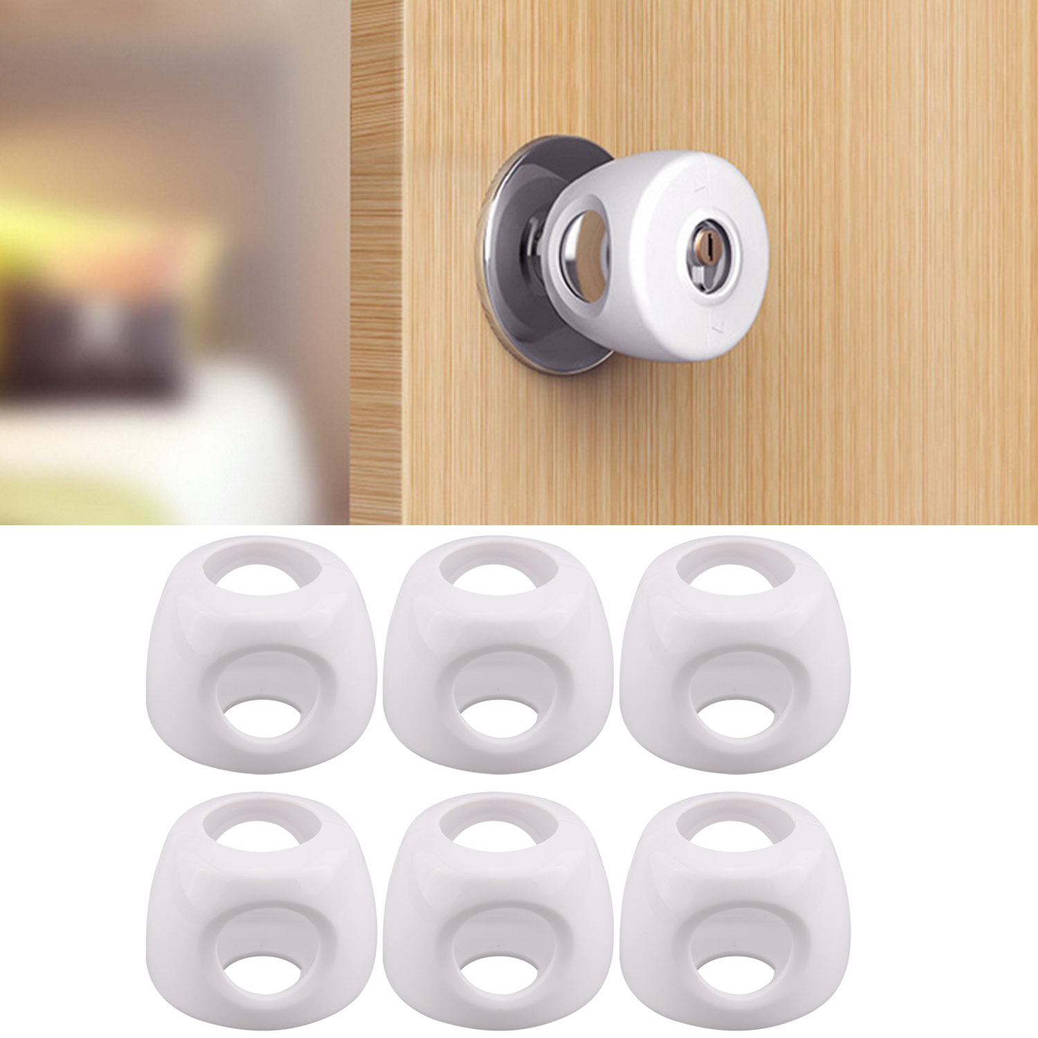 6PCS Universal Baby Safety Locks Round Door Knob Safety Lock Round Handle Doorknob Protective Cover Baby Security Protection