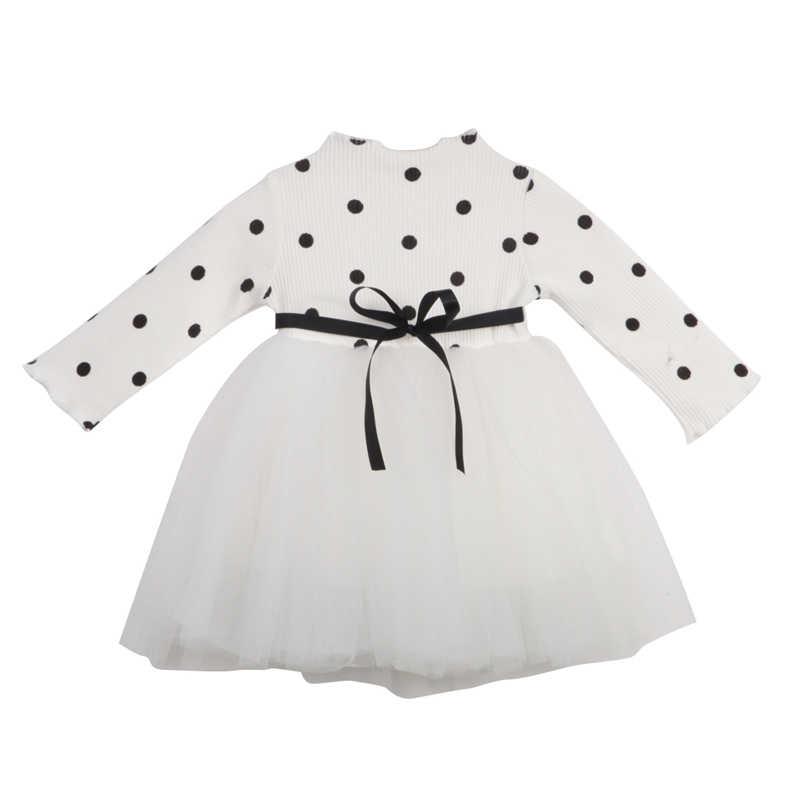 2018 vestidos para niñas Otoño Invierno vestido cálido recién nacido bebé niña manga larga punto encaje tutú vestido ropa 0-4Y