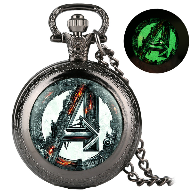 Reloj Mujer Avengers Alliance Series Pocket Watch For Women Men Classic White Dial Quartz Pocket Watch Retro With Necklace