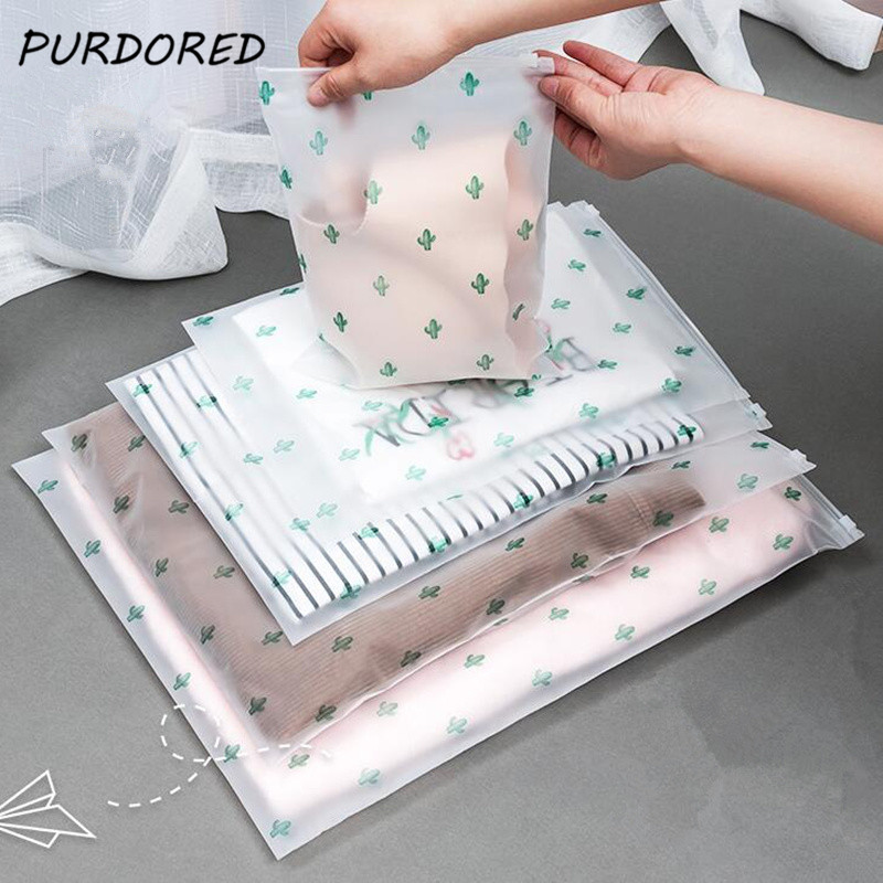 PURDORED 1 Pc Cactus Storage Bag Zip Lock Valve Slide Seal Travel Storage Bag Packing Pouch Cosmetic Clothing Bra Organizer Bag