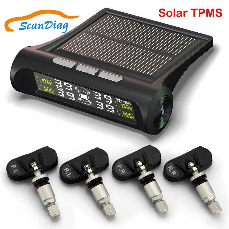 2018 nouveau système de surveillance de la pression des pneus de voiture TPMS affichage LCD sans fil à énergie solaire avec 4 capteurs internes alarme de sécurité automatique