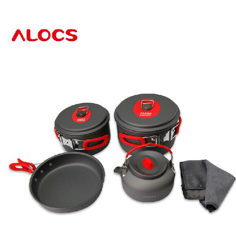 Alocs genuine Lotto 3-4 picnic pot seven sets of outdoor camping picnic pot set CW-C06S чайник походный alocs love road off cw k04 alocs cw k04 pro