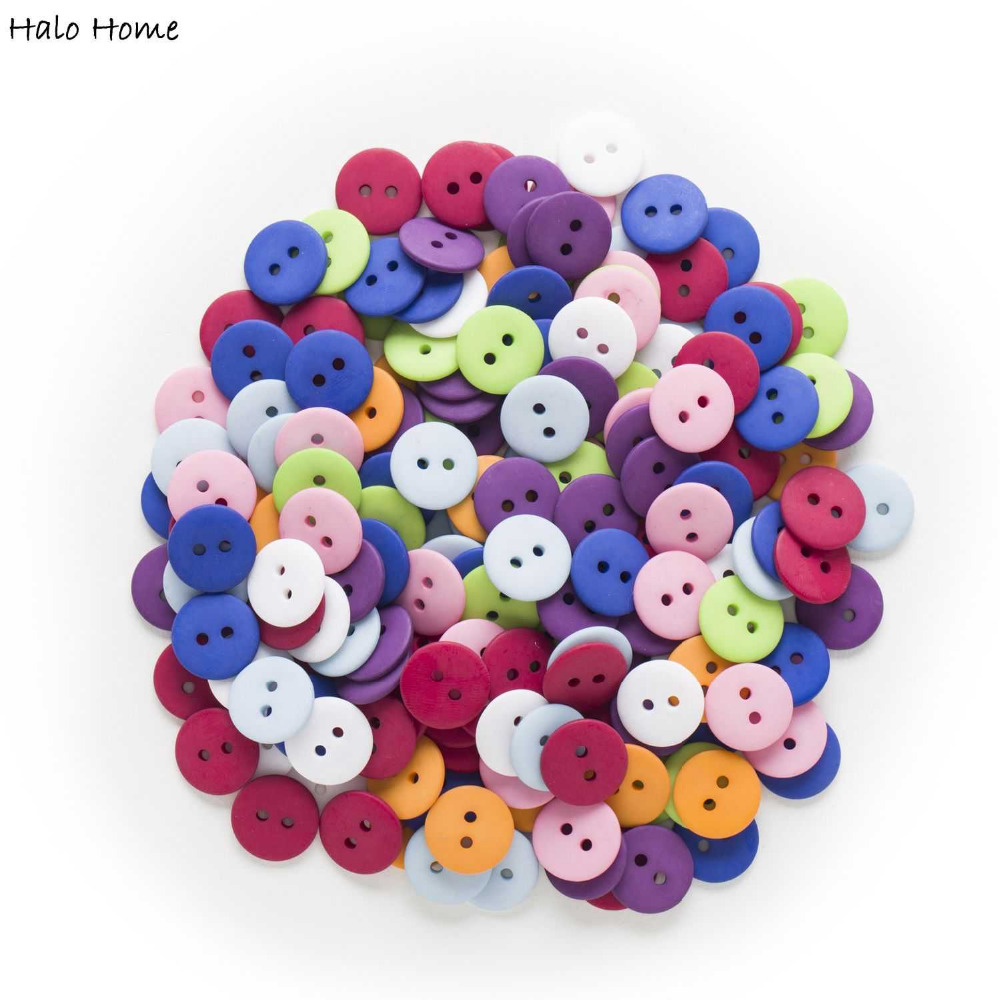 100pcs 2 hole Round Resin Buttons Decor Clothing Home Sewing Scrapbooking 12mm