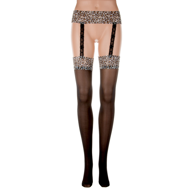 a10359e7358ed3 New Arrival Women's Sexy Leopard Print Top Thigh Highs Stockings with  Suspenders Garters Belt with Suspenders