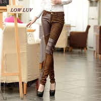 Womens PU Leather Denim Stitching Motorcycle Pants Sexy Women Faux Leather Slim Skinny Trousers Fake Zipped Stretch Leggings