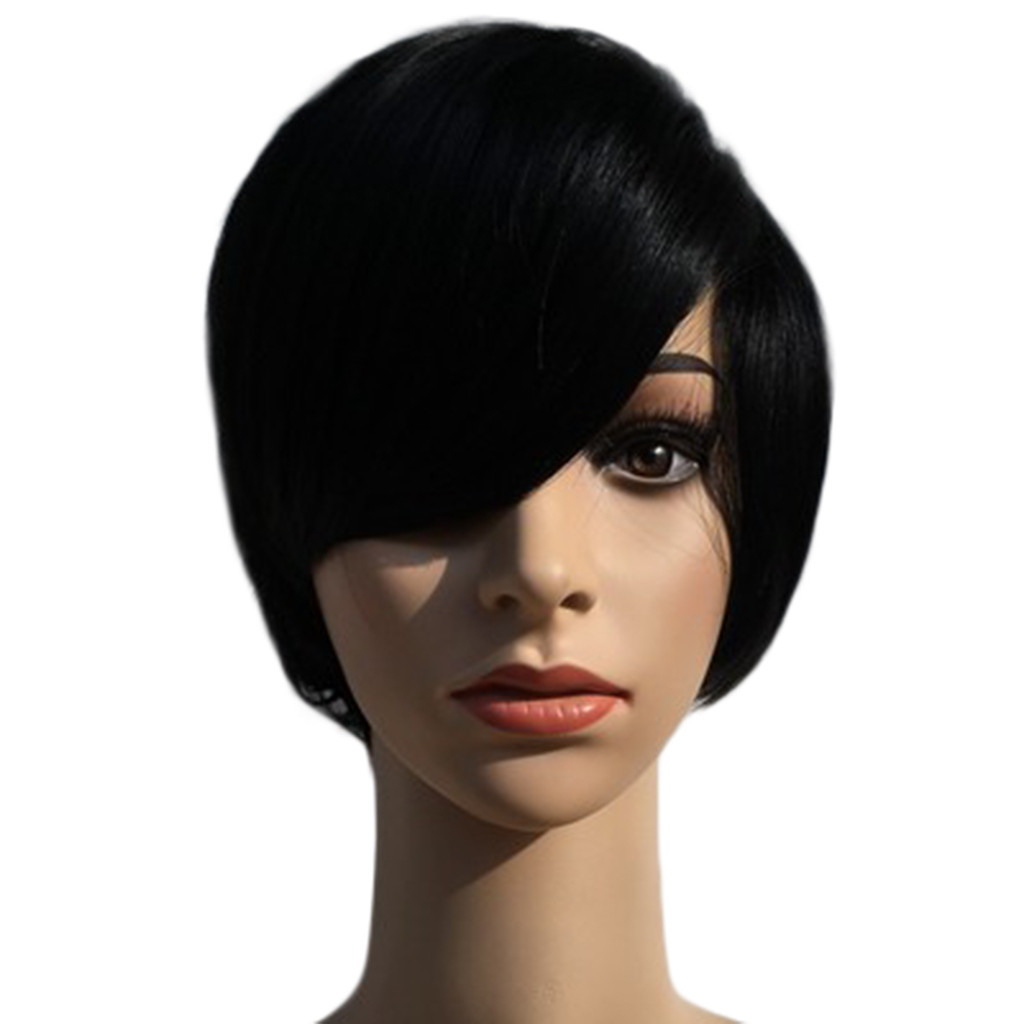 In Stock Women Lady Fashion Synthetic Short Straight Black Color Women's Wigs Natural Hair Wigs Peluca Gift Dropshipping