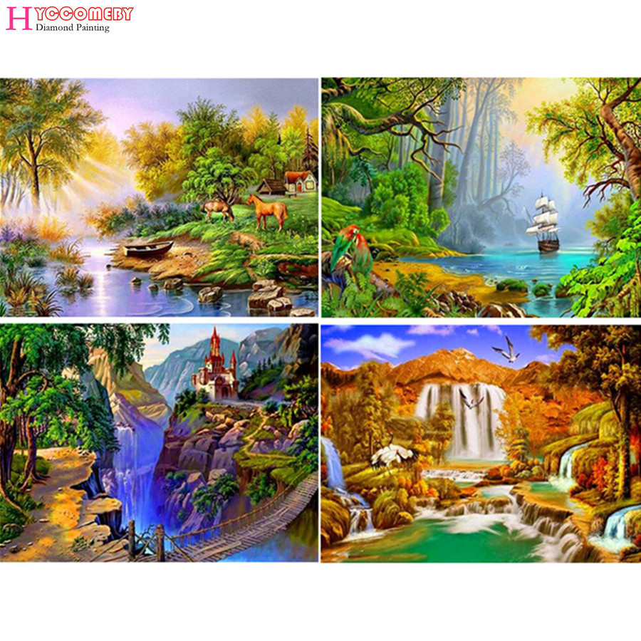 Arts,crafts & Sewing Brilliant 3d Diy Square Diamond Painting Scenic Landscape Waterfall Needlework Diamond Embroidery Of Home Decor Diamond Mosaic Painting Selected Material