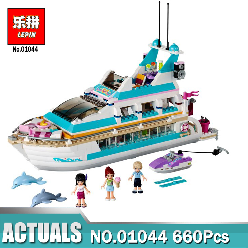Lepin 01044 Friends Girl Series 660pcs Building Blocks toys Dolphin Cruiser kids Bricks toy girl gifts Compatible Legoing 41015 lis 10172 bela friends girl dolphin cruiser vessel ship building blocks big set compatible with gift bricks kid toy