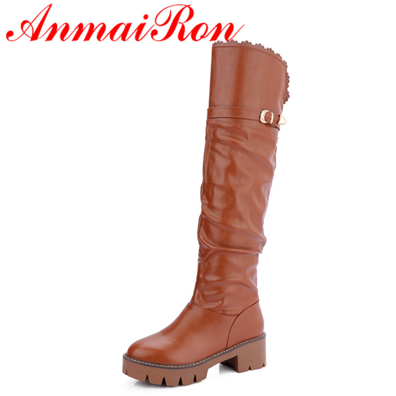 ANMAIRON New Fashion Round Toe High Heels Slip-on PU Platform Knee-high Boots Shoes Woman 3 Colors White Shoes Large Size 34-43